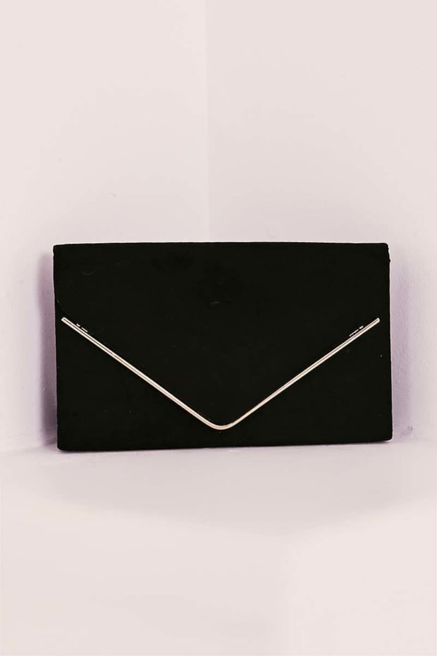BLACK FAUX SUEDE ENVELOPE CLUTCH BAG