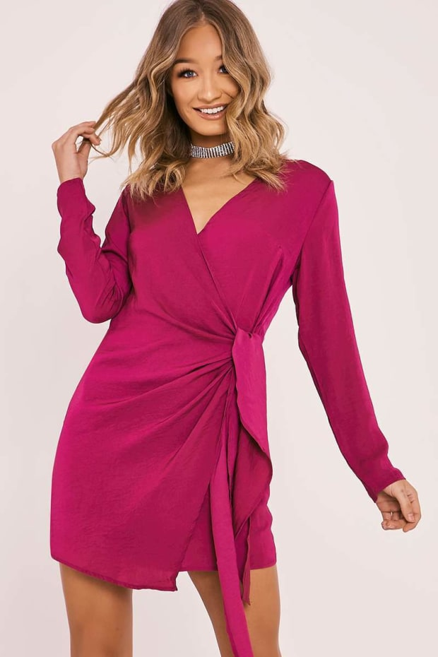 BINA FUCHSIA SILKY WRAP SHIRT DRESS