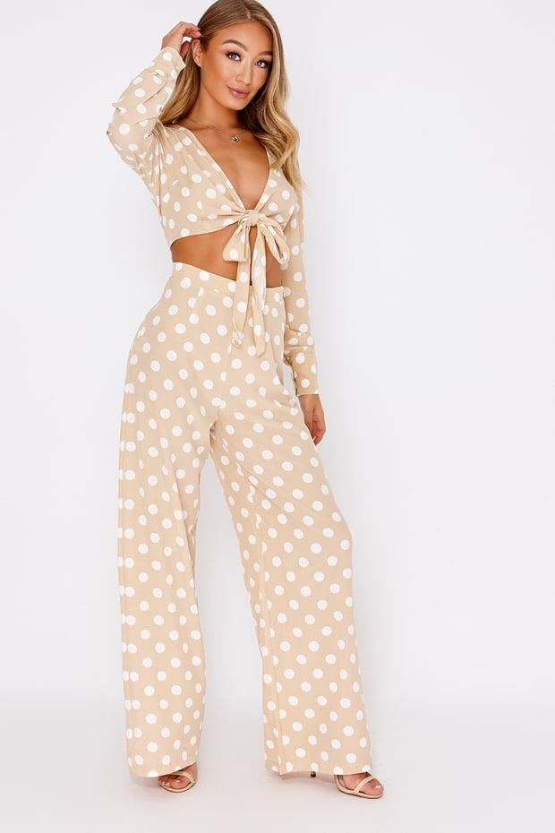 8dfc562e9a0 Billie Faiers Nude Polka Dot Palazzo Trousers