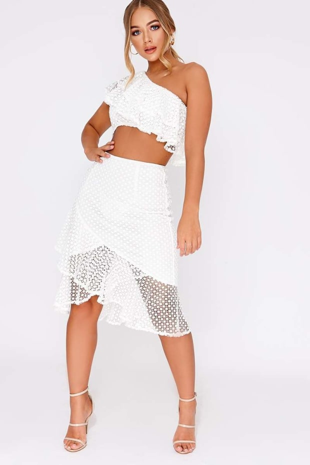 BILLIE FAIERS WHITE CROCHET PEPHEM MIDI SKIRT