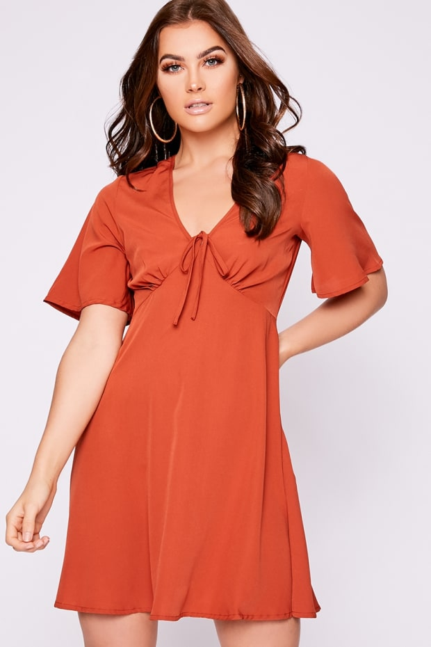 LOULOU RUST TIE DETAIL SWING DRESS