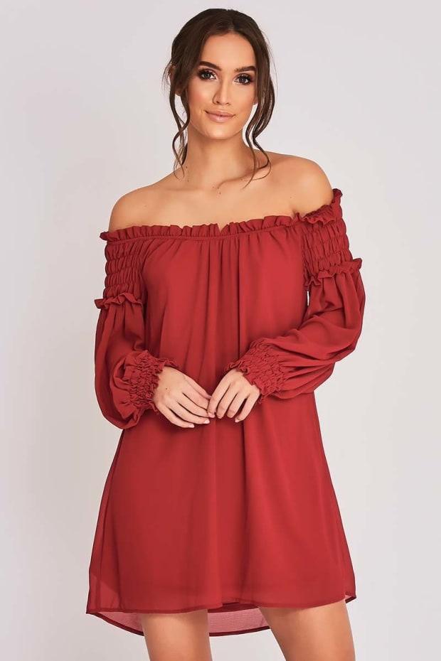 BINKY BURGUNDY BARDOT SWING DRESS
