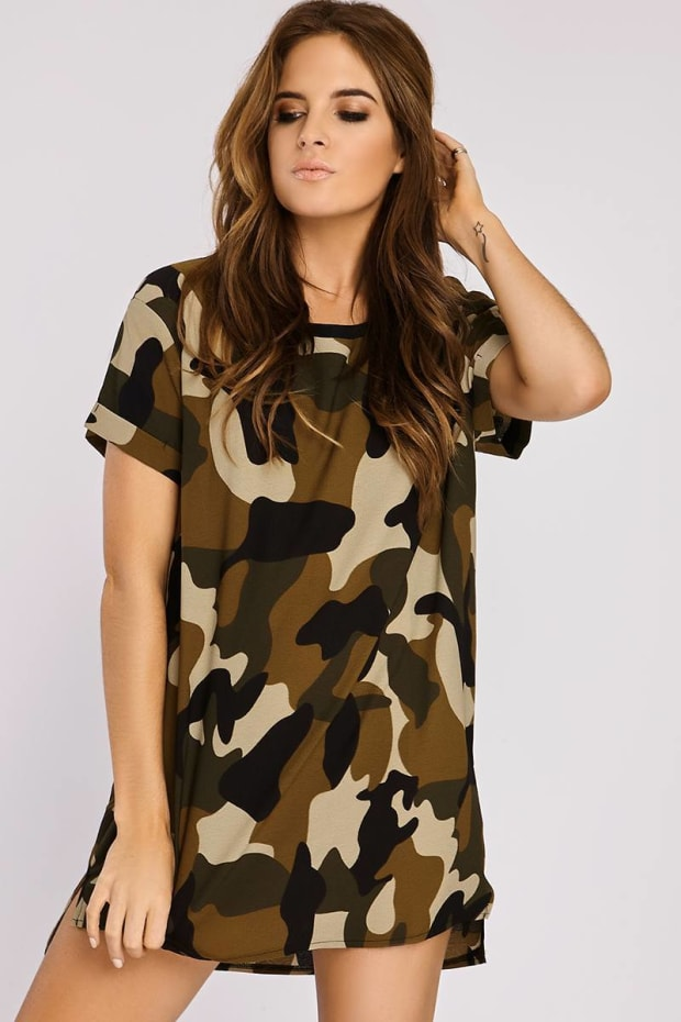 Binky Camo Print Oversized Tee Dress