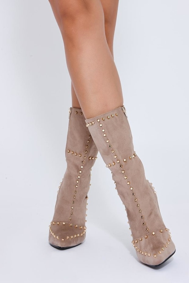 RENA STONE STUDDED ANKLE BOOTS