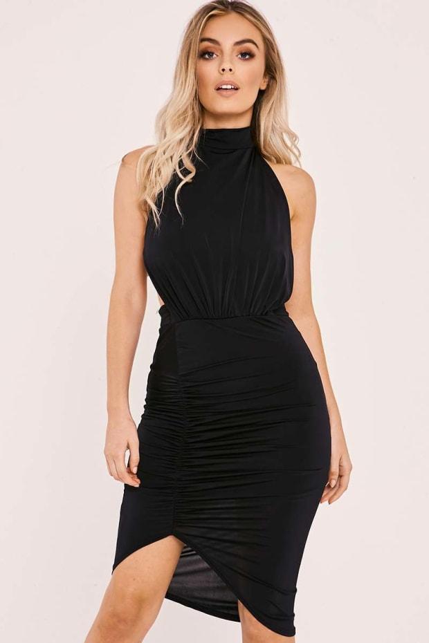 CATERINA BLACK SLINKY HALTERNECK BACKLESS RUCHED DRESS