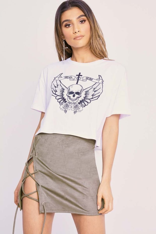 CHARLOTTE CROSBY WHITE HELL YEAH SKULL CROPPED T SHIRT