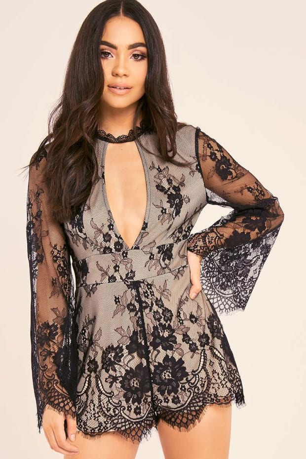 BINKY BLACK LACE HIGH NECK FLUTE SLEEVE PLAYSUIT