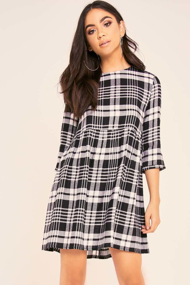 BINKY BLACK CHECK OVERSIZED SWING DRESS