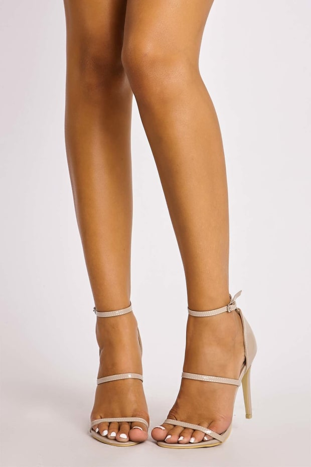 CINDER NUDE PATENT STRAPPY HEELS