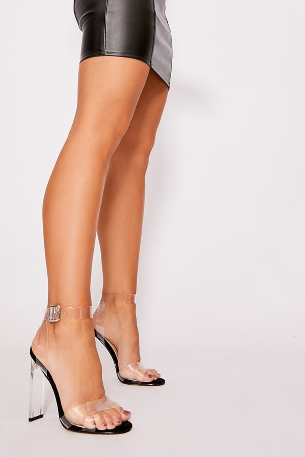RINIA BLACK CLEAR STRAP DETAIL BARELY THERE HEELS
