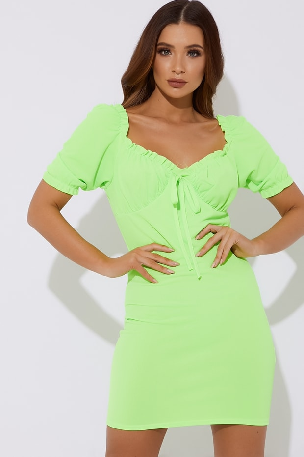 SEQUOIA LIME PUFF SLEEVE TIE FRONT MINI DRESS
