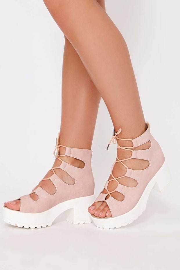 NATALINE PINK FAUX SUEDE LACE UP FLATFORMS