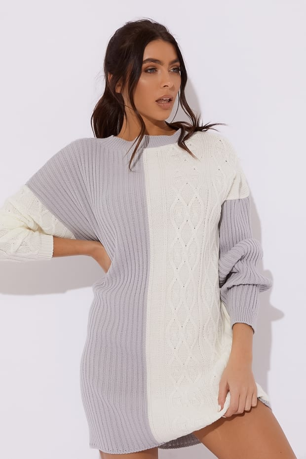 Dani Dyer Grey Contrast Oversized Jumper Dress  470bdda06