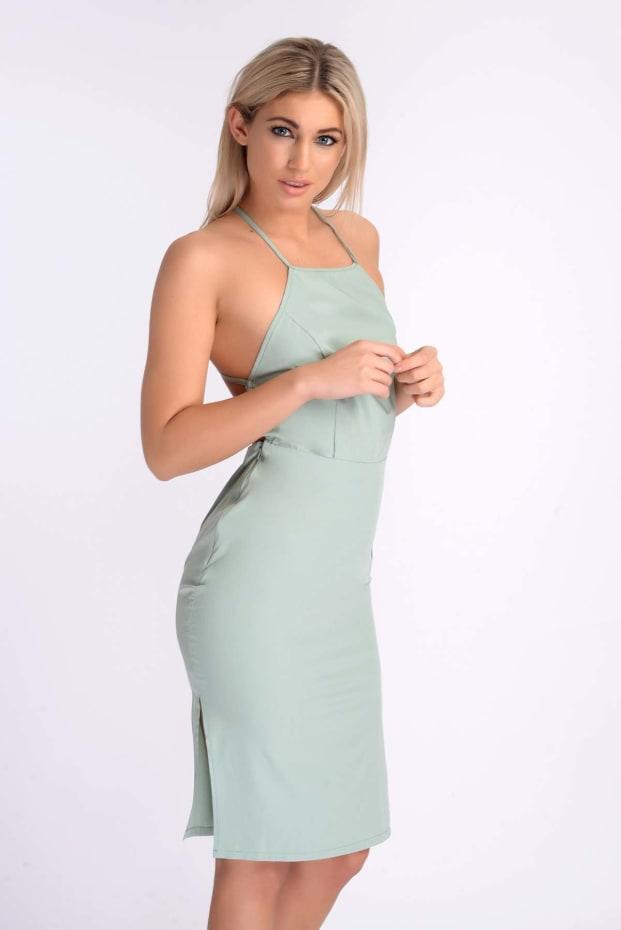 ALYVIA MINT GREEN BACKLESS CROSS BACK DRESS