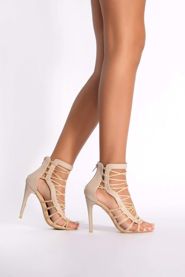 Taylor Cream Suede Zip Back Heels