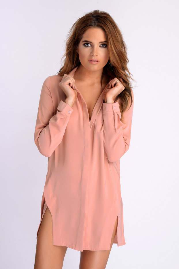 BINKY PINK SPLIT FRONT SHIRT DRESS