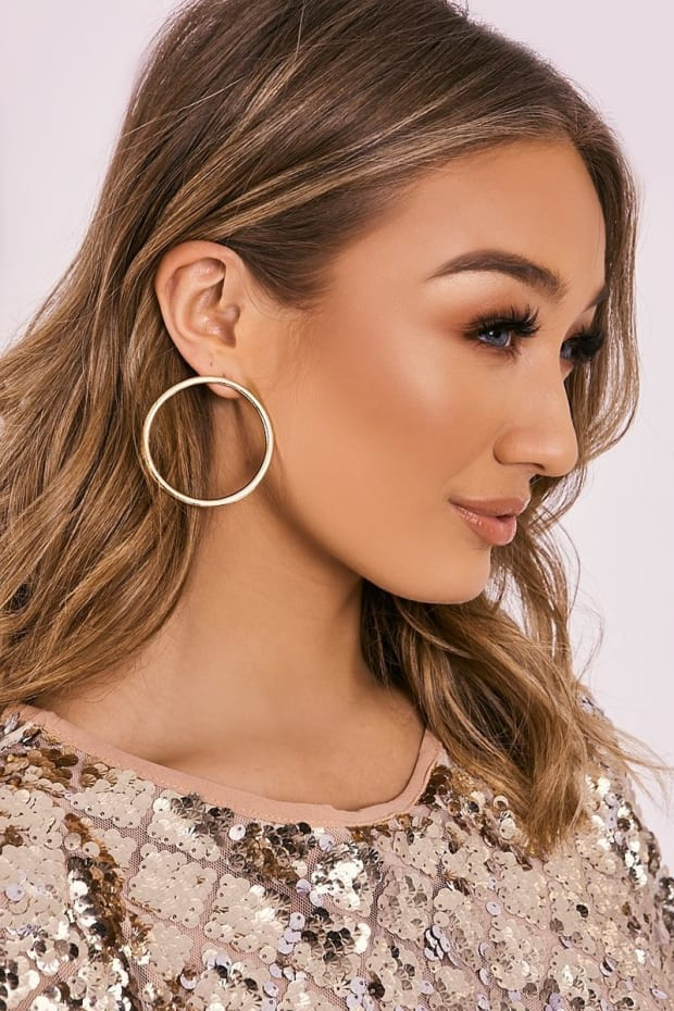 GOLD OVERSIZED CIRCLE EARRINGS