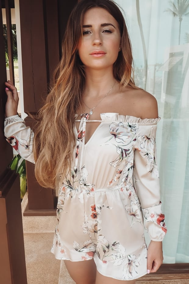 1c7d5456618 Dani Dyer Nude Floral Bardot Playsuit by In The Style