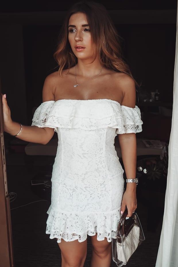 ba1654d8dc5 Dani Dyer White Lace Bardot Mini Dress by In The Style