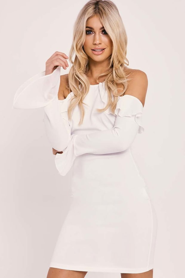 ANALEIGH CREAM LONG SLEEVE COLD SHOULDER FRILL MINI DRESS
