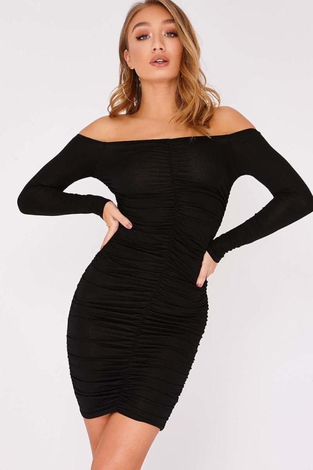BEENA BLACK RUCHED BARDOT MINI DRESS