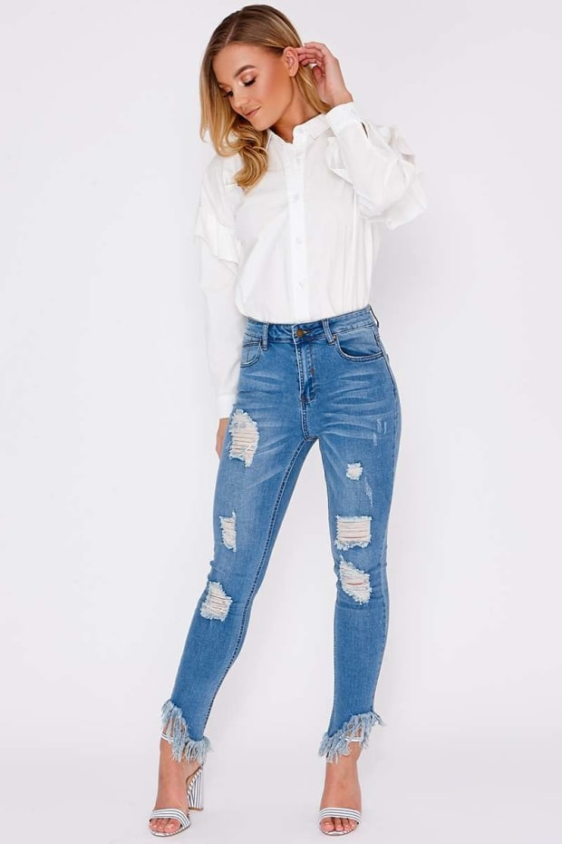 ELIYA LIGHT BLUE FRAYED DISTRESSED SKINNY JEANS