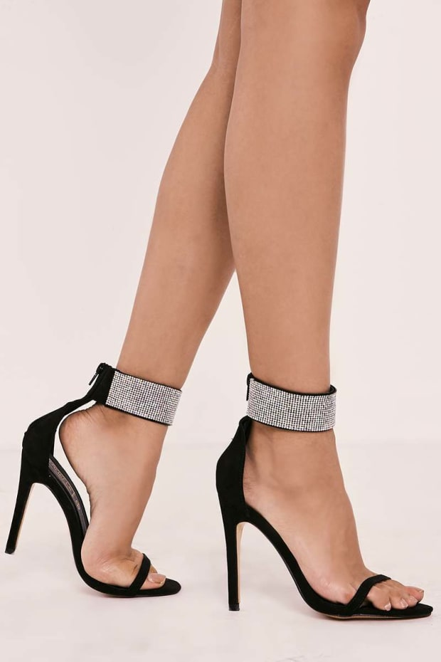 TESSIA BLACK DIAMANTE ANKLE STRAP HEELS