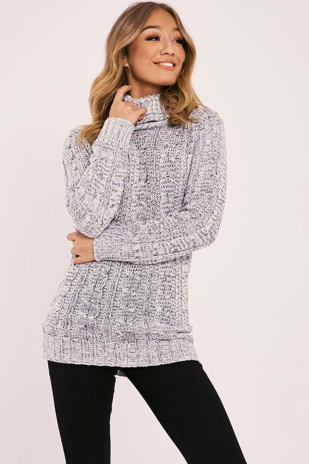 MYLIE GREY CABLE KNITTED HIGH NECK JUMPER