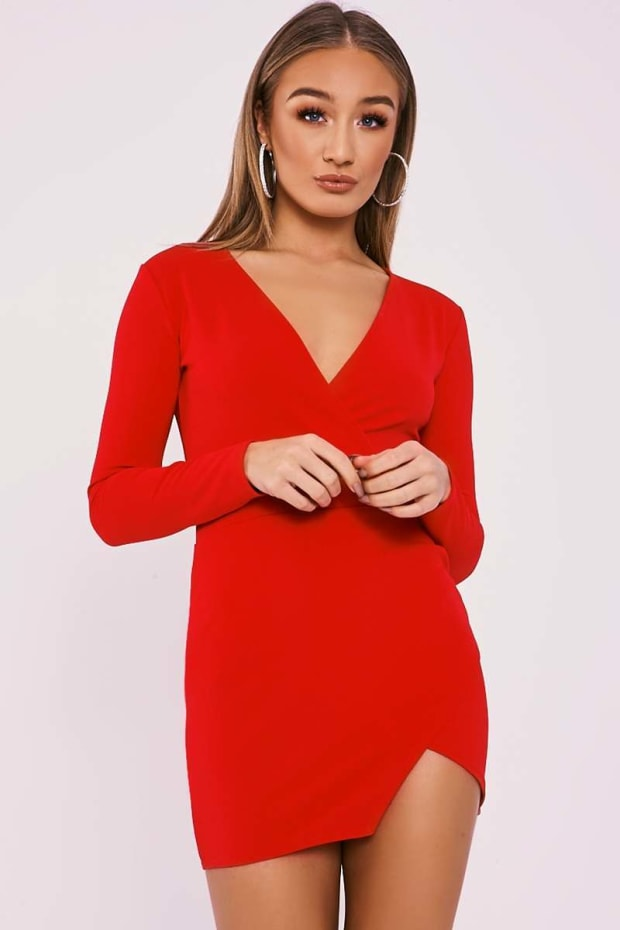 Flynn Red Long Sleeve Plunge Wrap Dress  fe2a27ef6408