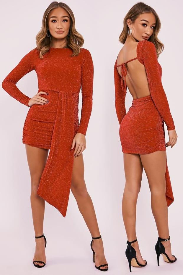 FRANYA RED LUREX SPARKLE DRAPE FRONT BACKLESS DRESS