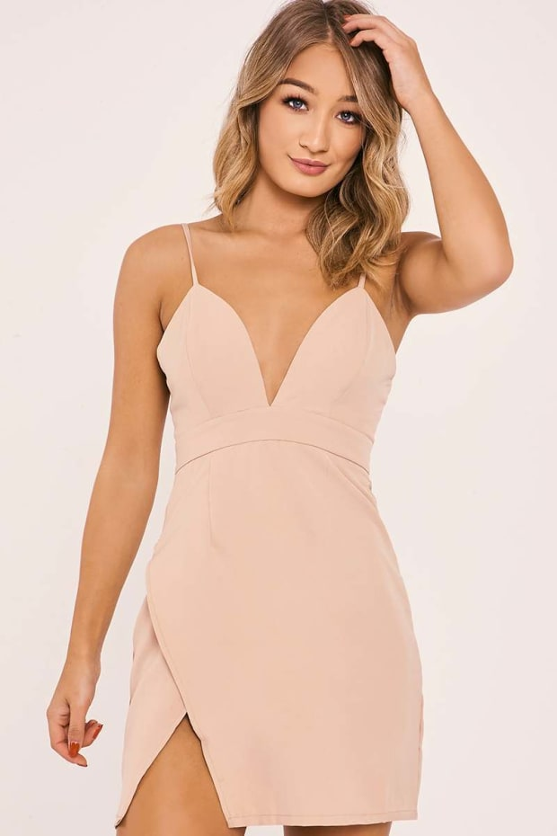 AMBERLEE NUDE STRAPPY PLUNGE SPLIT SIDE DRESS