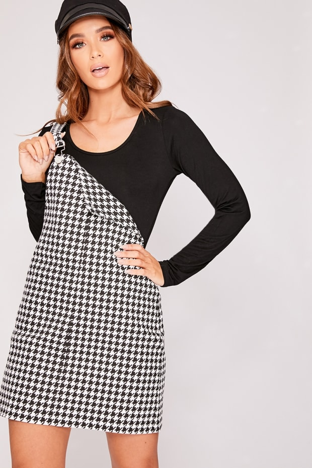 Emmilah Black Dog Tooth Denim Pinafore Dress In The Style