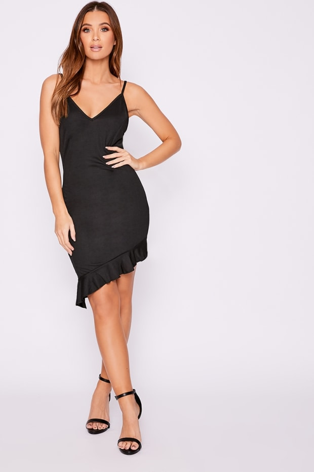 Our email address is  customerservices inthestyle.com. DYNAH BLACK  ASYMMETRIC FRILL HEM DRESS b87aa6e83
