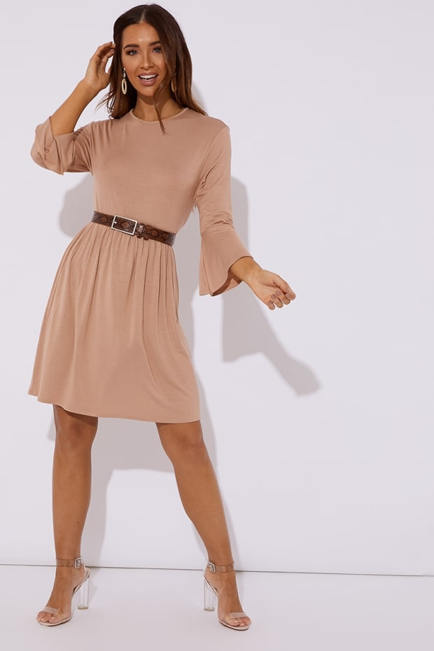 EIRIAN CAMEL JERSEY SMOCK DRESS
