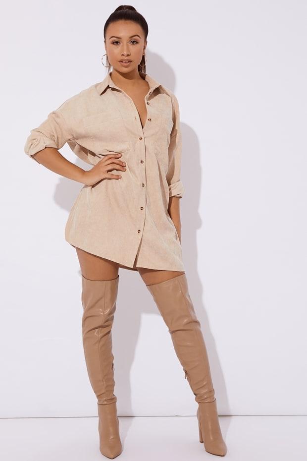 ANNALEIAH STONE CORD SHIRT DRESS