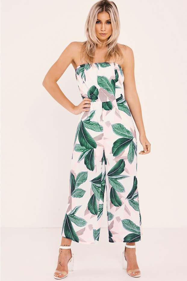 FAYTH CREAM LEAF PRINT STRAPLESS WIDE LEG CROPPED JUMPSUIT