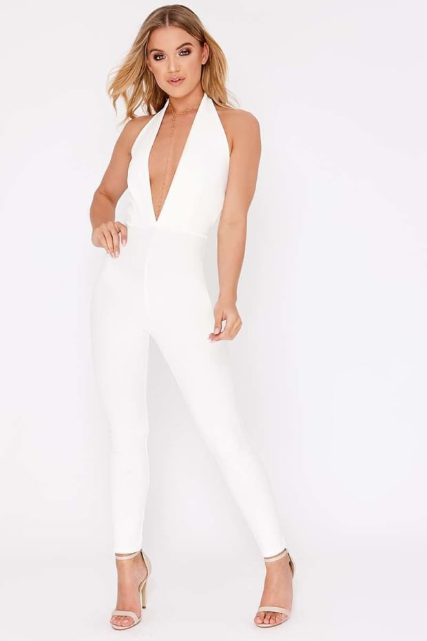 ae05a94176a DAKARI WHITE HALTERNECK PLUNGE BACKLESS JUMPSUIT