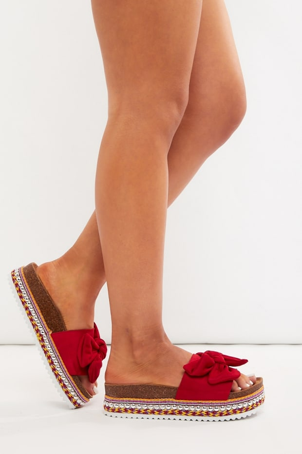 KYLEEN RED FAUX SUEDE BOW DETAIL SLIDERS