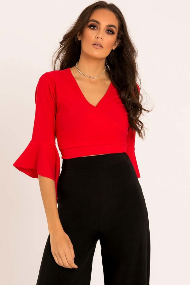 LEILANI RED WRAP TIE BACK TOP
