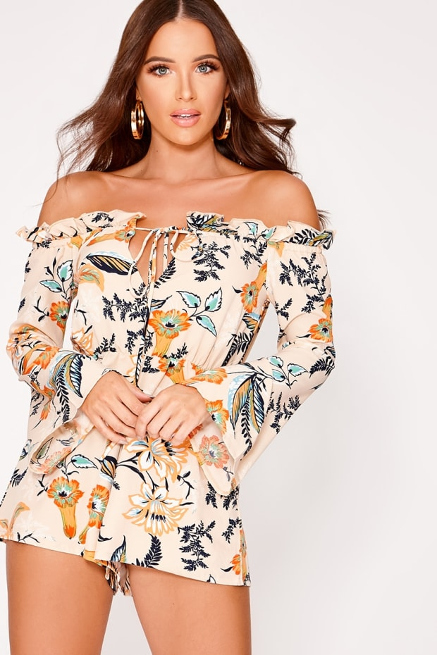 ARLEY BEIGE FLORAL FLARE SLEEVE BARDOT PLAYSUIT