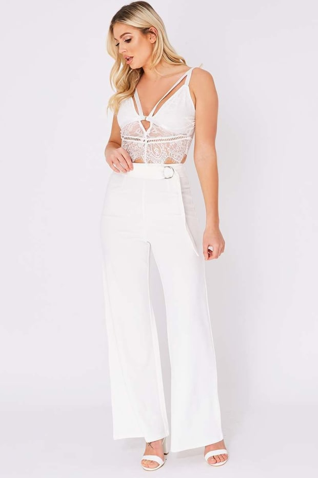 OLYMPIA CREAM RING BELT WIDE LEG TROUSERS