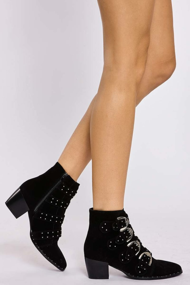 SALENA BLACK MULTIBUCKLE STUDDED FAUX SUEDE ANKLE BOOTS