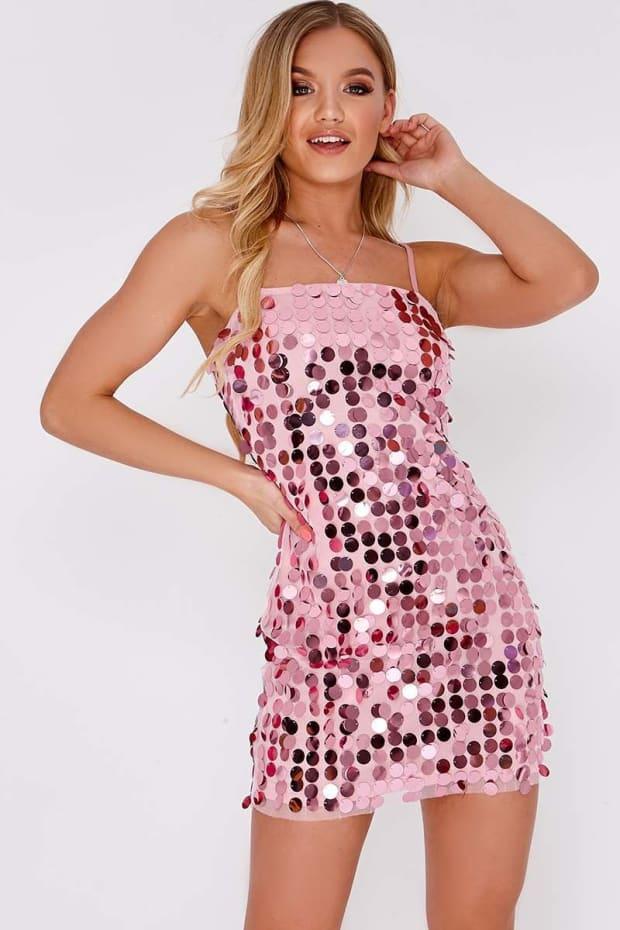 ELENEE PINK SEQUIN STRAPPY MINI DRESS