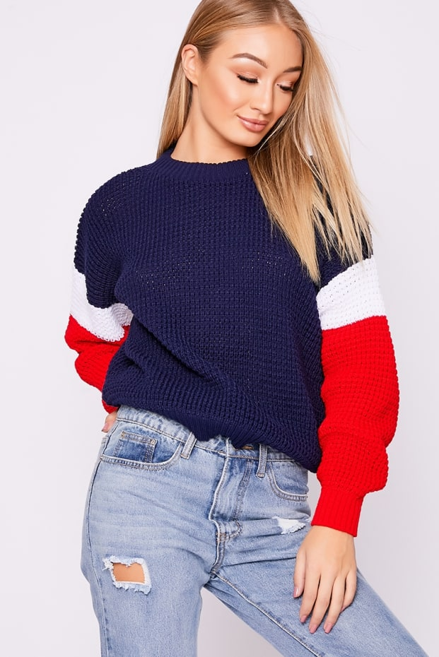 HALY NAVY COLOUR BLOCK JUMPER