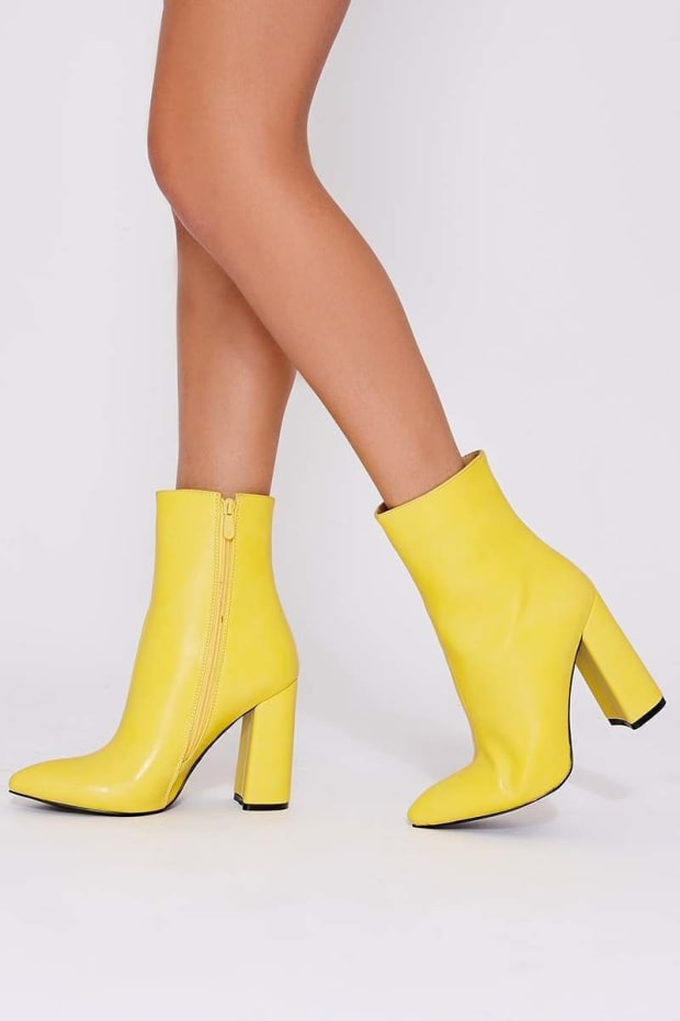 STELLA YELLOW FAUX LEATHER HEELED ANKLE BOOTS