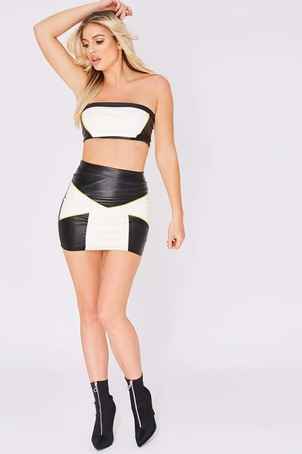 NATALINA WHITE COLOUR BLOCK PU MINI SKIRT