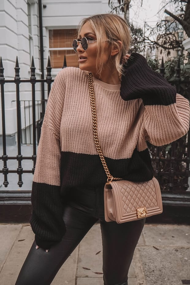 SARAH ASHCROFT NUDE COLOUR BLOCK OVERSIZED KNITTED JUMPER