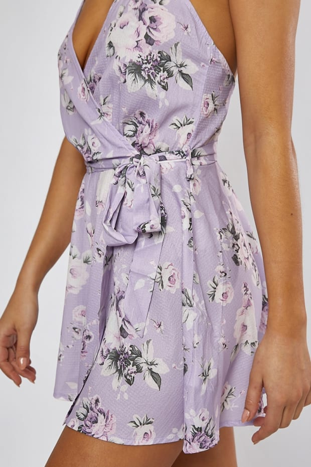 ed5805a2fa0 ELKA LILAC ROSE PRINT WRAP FRONT PLAYSUIT. Previous