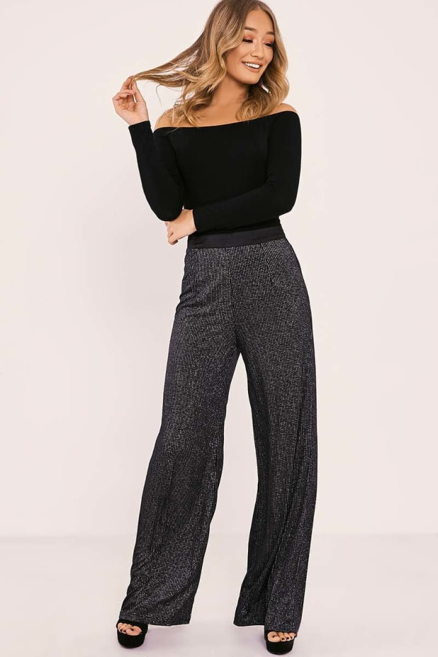LALEN BLACK GLITTER WIDE LEG TROUSERS