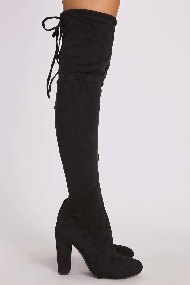 c4e350ffbb1 REMI BLACK FAUX SUEDE OVER THE KNEE HEELED BOOTS. 1
